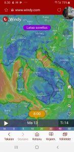 Sääkartta lupaa tuulta ja sadetta muutamaksi päiväksi - Weather forecast is rain and wind for a couple of days